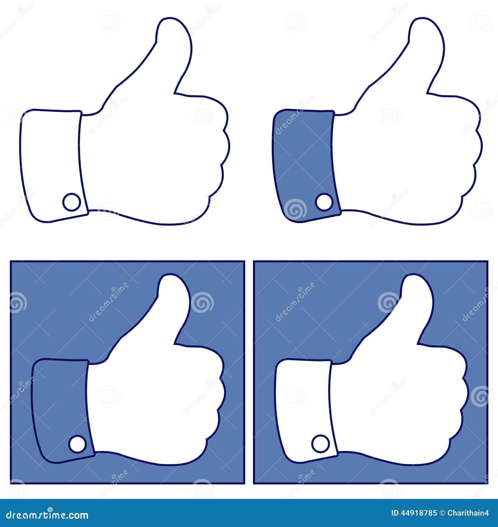 Facebook tumme upp som knappsymbolsuppsättning