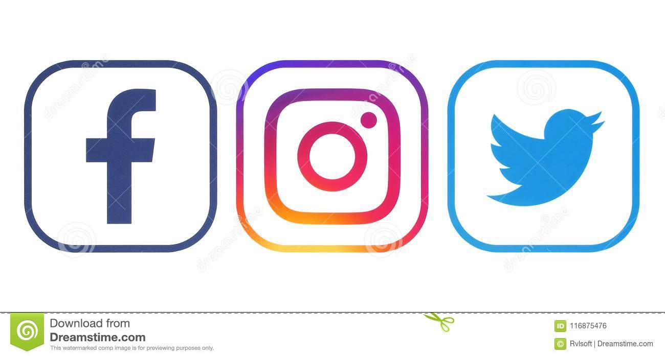 4507b39a1432553457 Fb Xl Png: Facebook, Twitter And Instagram Logos Editorial Photo