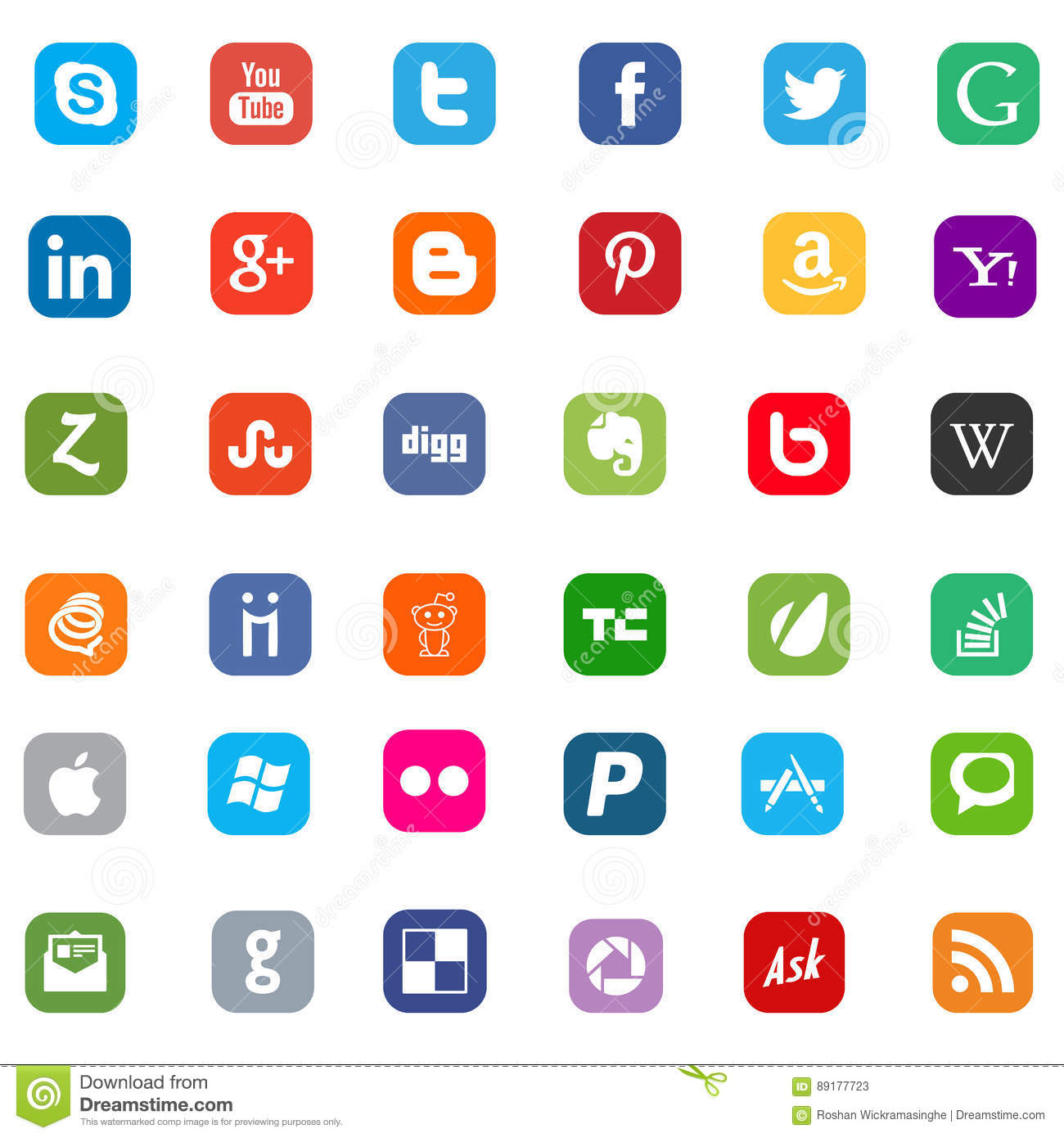 facebook twitter skype youtube and google icons editorial stock