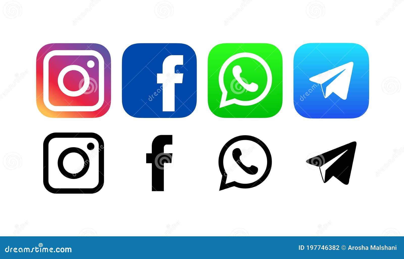 Facebook , WhatsApp , Telegramm  Und Instagram Logos Lokalisiert ...