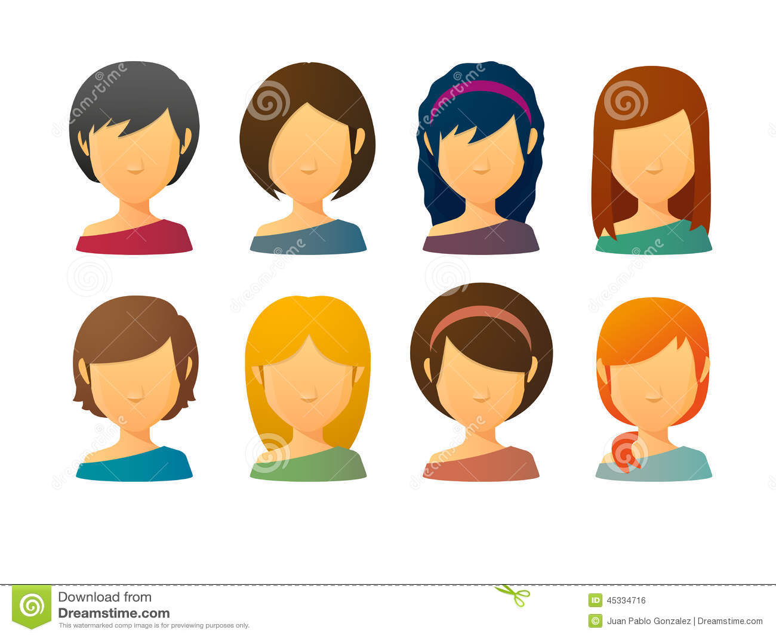 Faceless Female Avatars With Various Hair Styles Stock