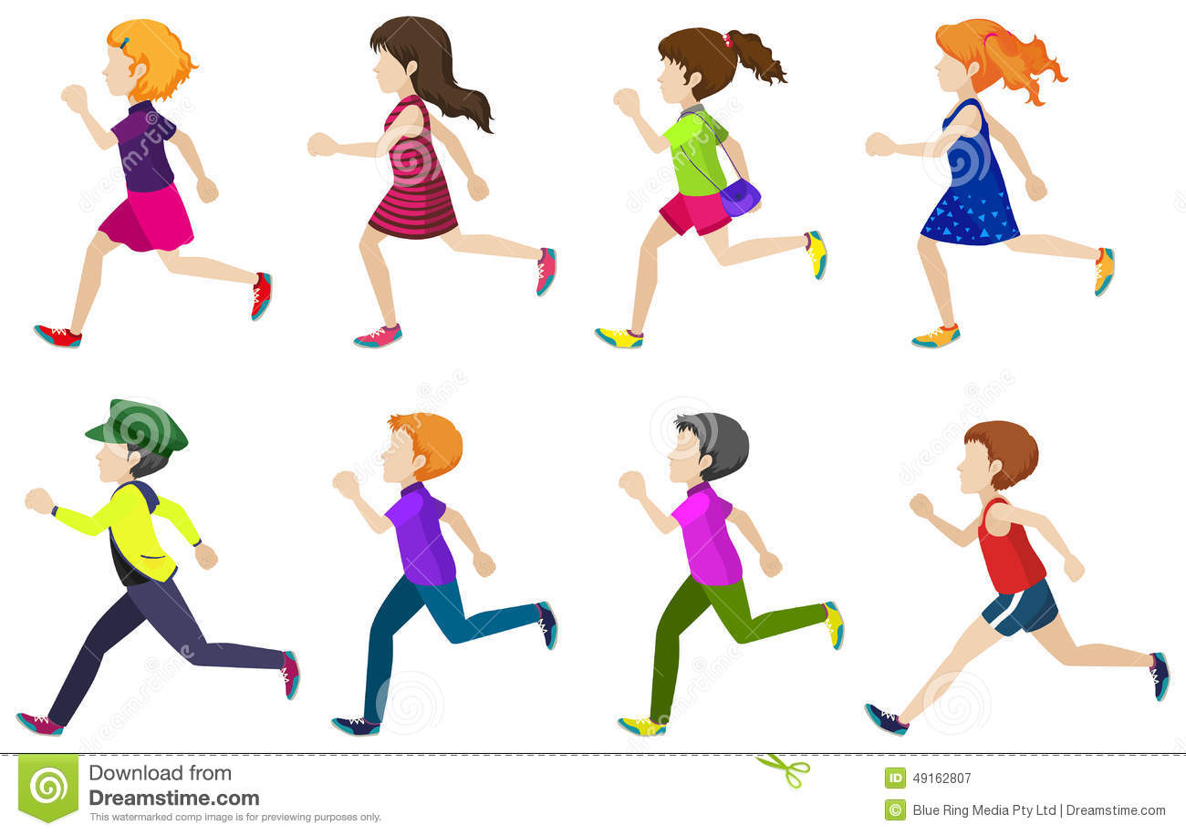 faceless group of kids running stock vector image 49162807 Running Shoes Clip Art kids running clip art black and white
