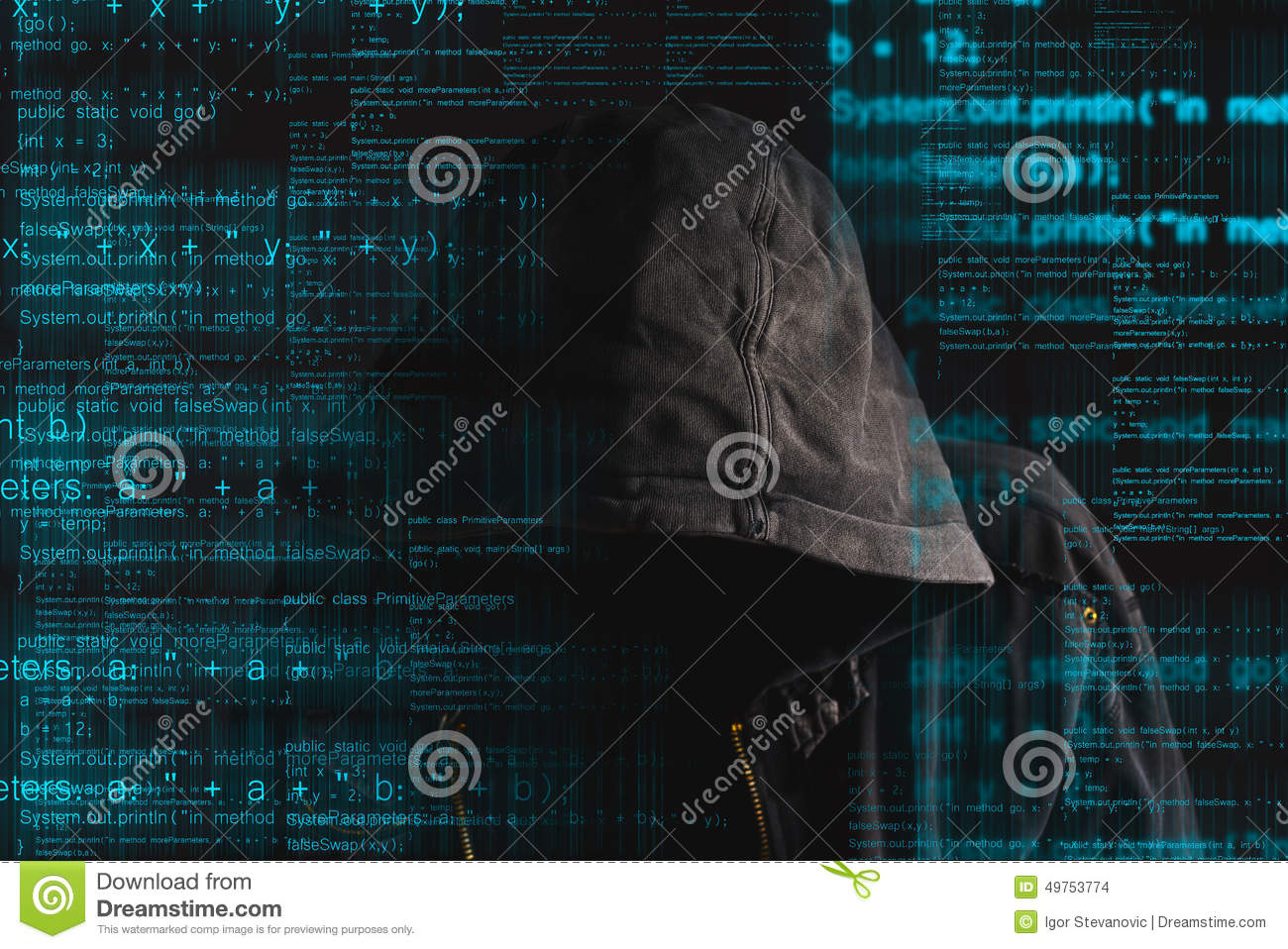 Faceless Hooded Anonymous Computer Hacker Stock Photo