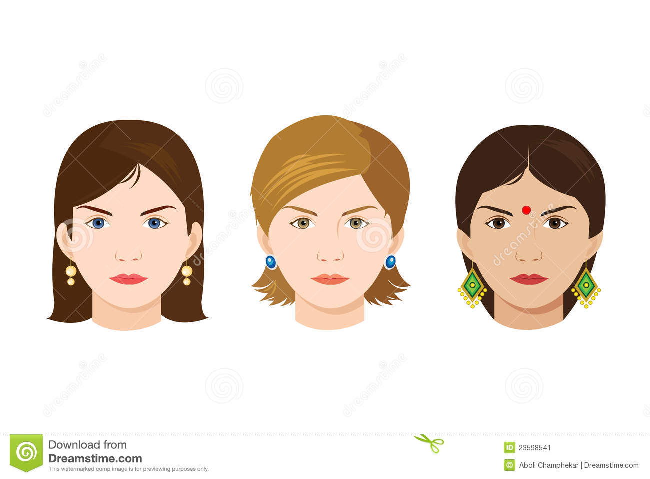 Faces Of 3 Women Of Different Nationalities Stock Vector