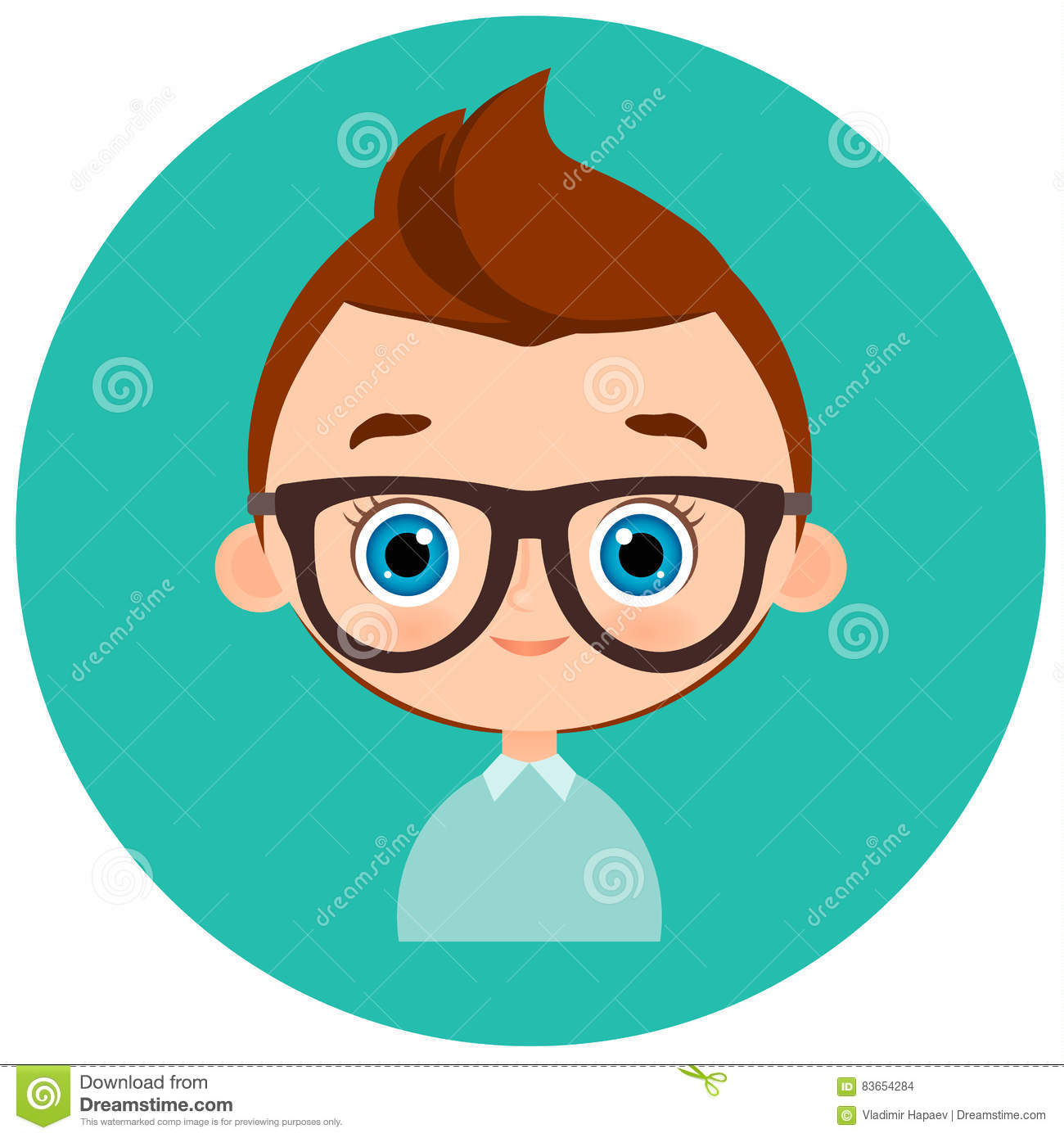 Faces Avatar In Circle. Portrait Young Boy With Glasses
