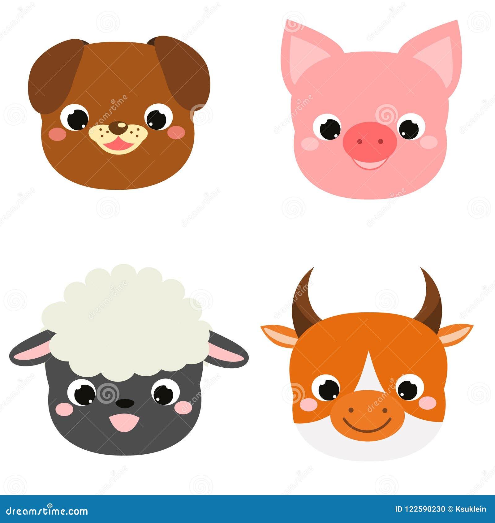 Faces bonitos dos animais A exploração agrícola do kawaii dos desenhos animados pets ícones