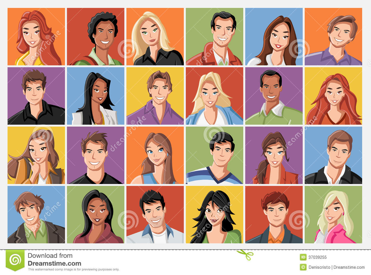 cartoon male and female faces collection vector icon set of