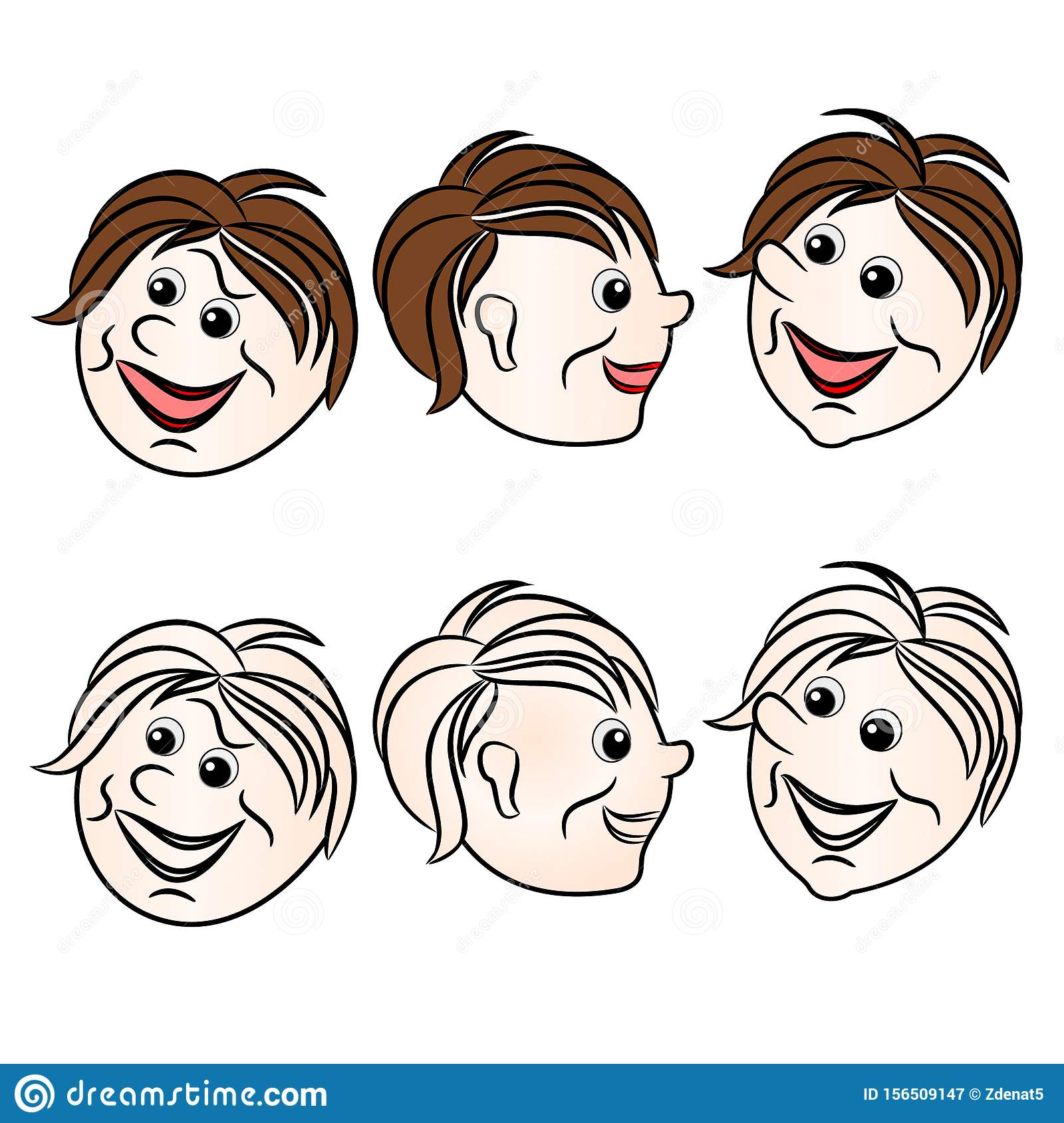 Faces character boys smiling natural and outline set first on a white background vintage vector illustration editable