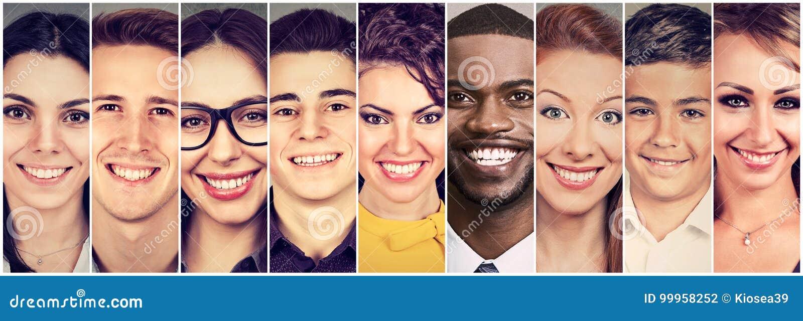Faces de sorriso Grupo feliz de jovens