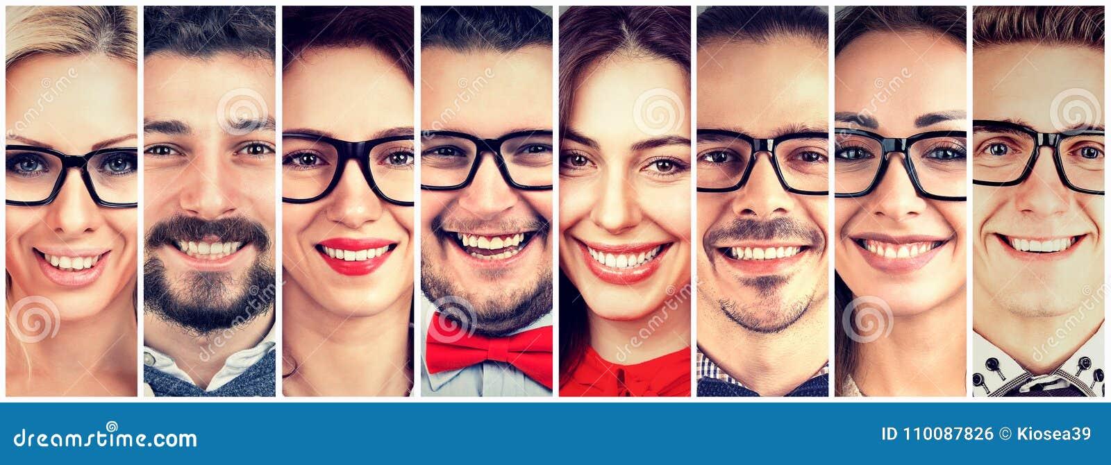 Faces de sorriso Grupo feliz de povos multi-étnicos