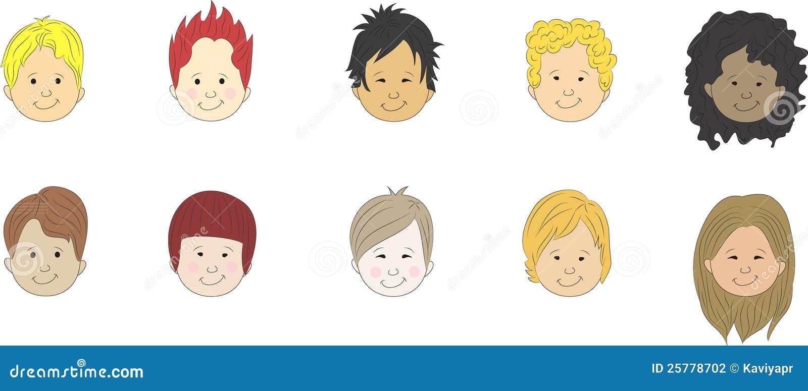 Faces Dos Desenhos Animados Meninos Fotografia