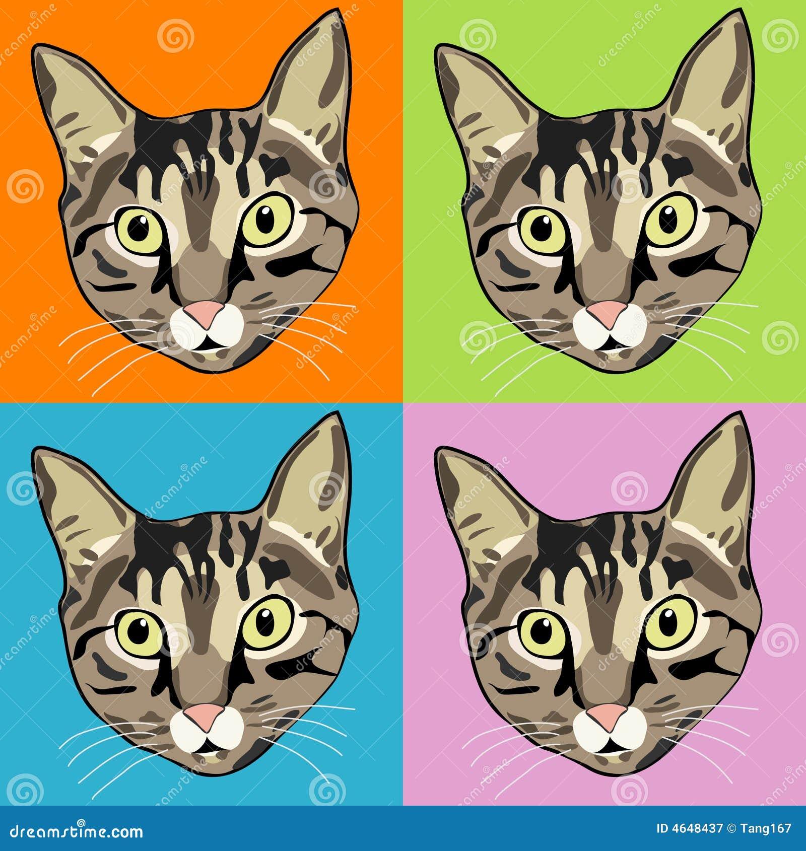 Faces listradas do gato de Tabby