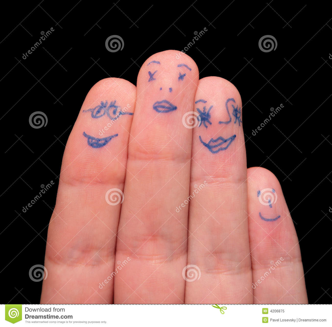 Faces painted on fingers