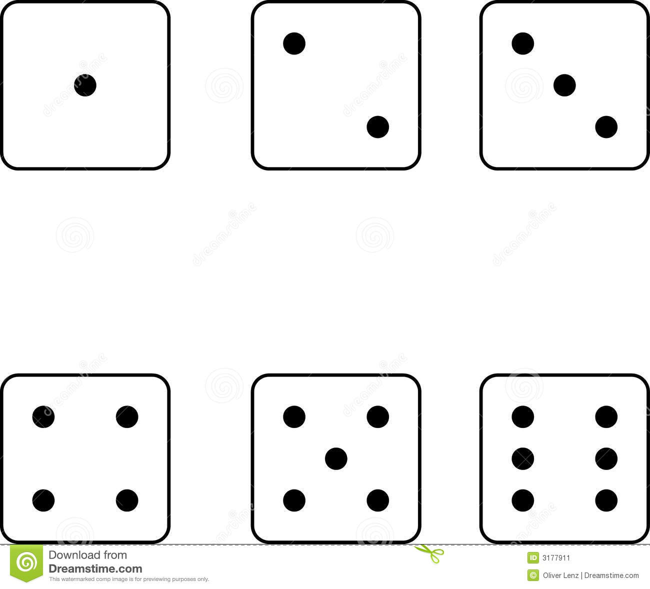 ... dice showing different numbers of spots isolated on white background