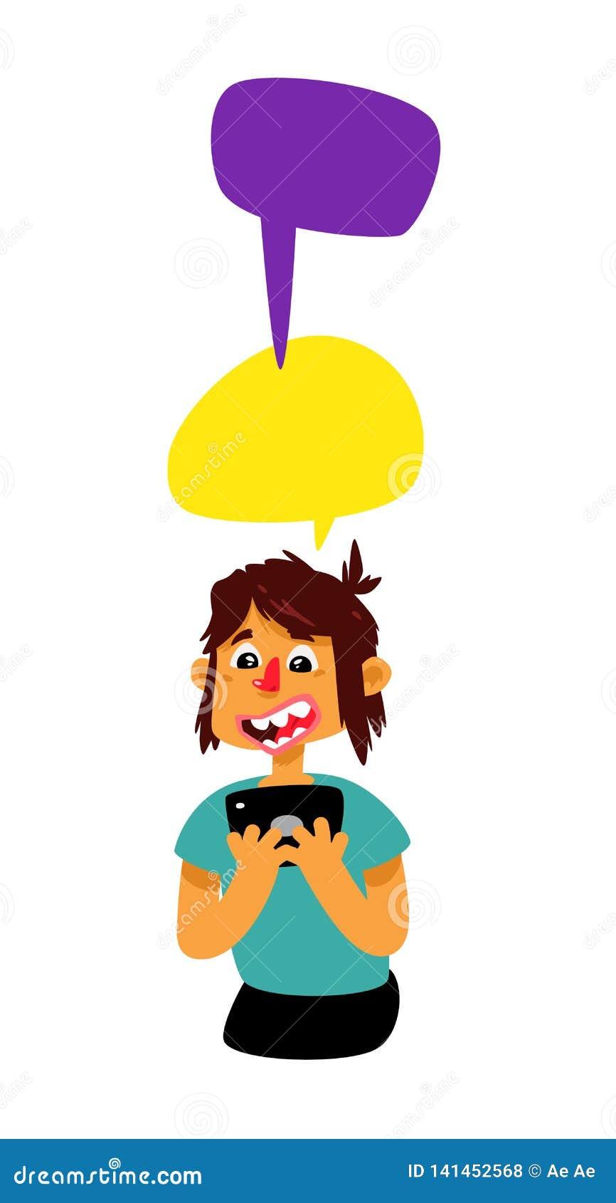 Facet z komiczka bąblami i pastylką wektor Mężczyzna komunikuje w gadce Ilustracja w kreskówka stylu chłopcy astir 4 skoki ilustr