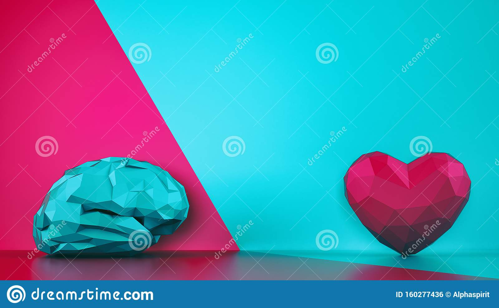 Comparison between reason and feeling. Faceted brain and heart on a two tone background. 3D Rendering