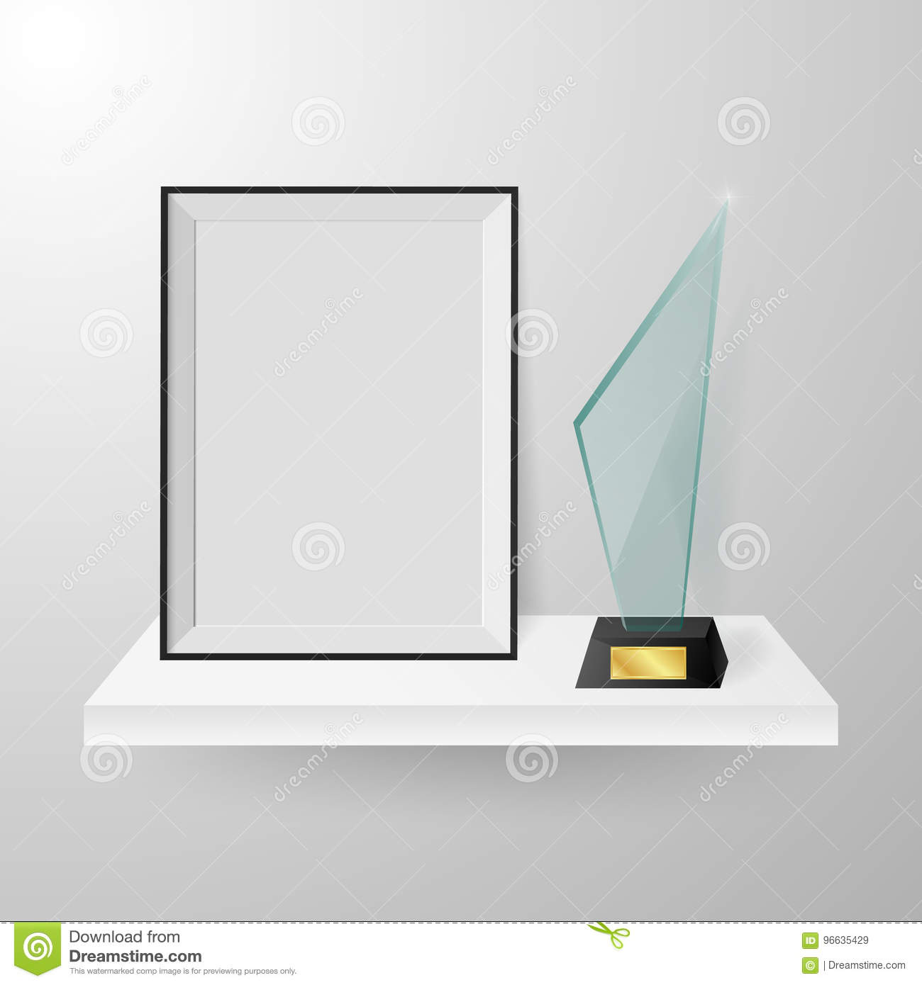 Faceted Crystal Glass Winner Trophy And Photo Frame On Shelf ...