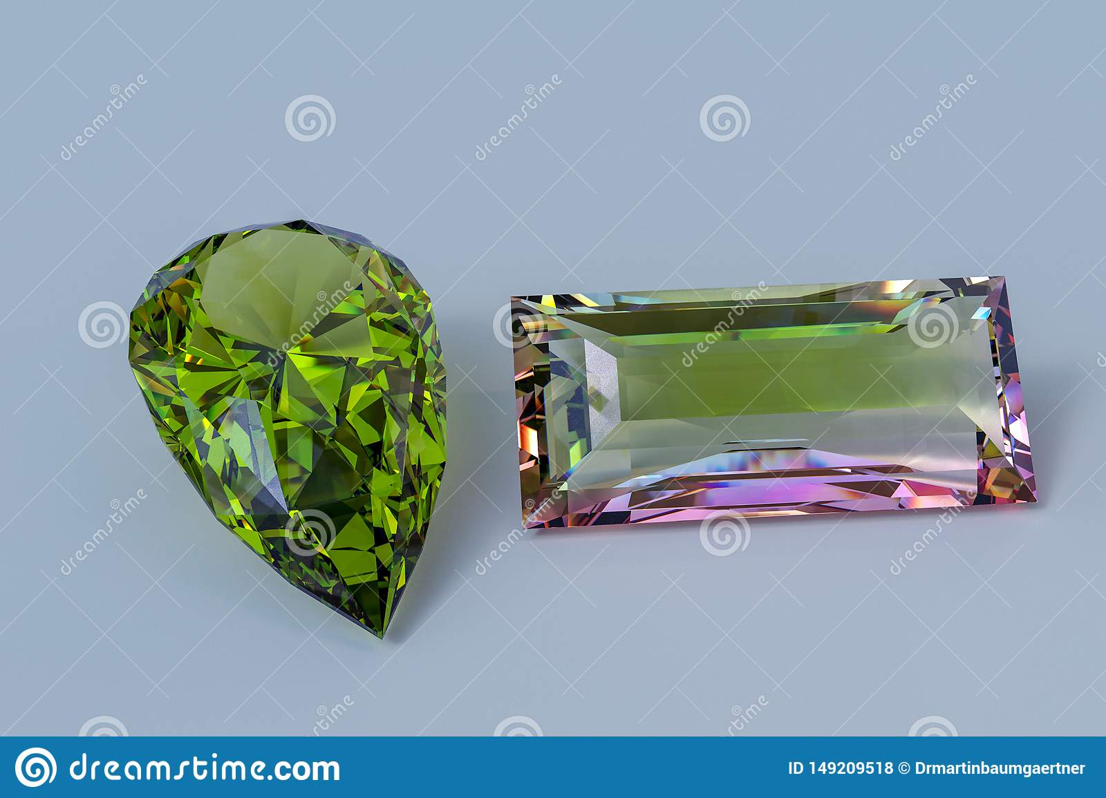 Faceted tourmalines