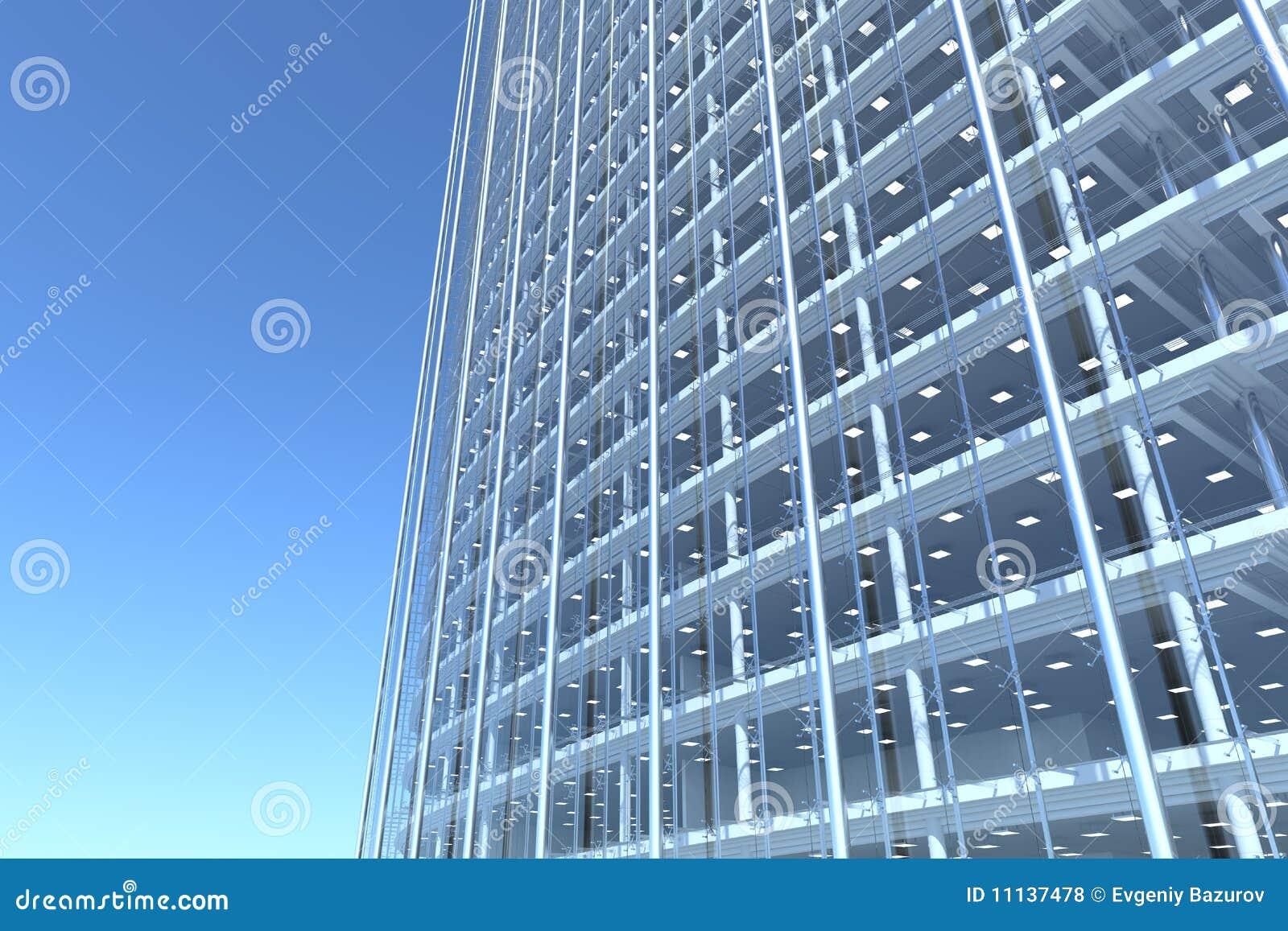 Fachada de cristal en blanco del edificio de oficinas - Fachada de cristal ...