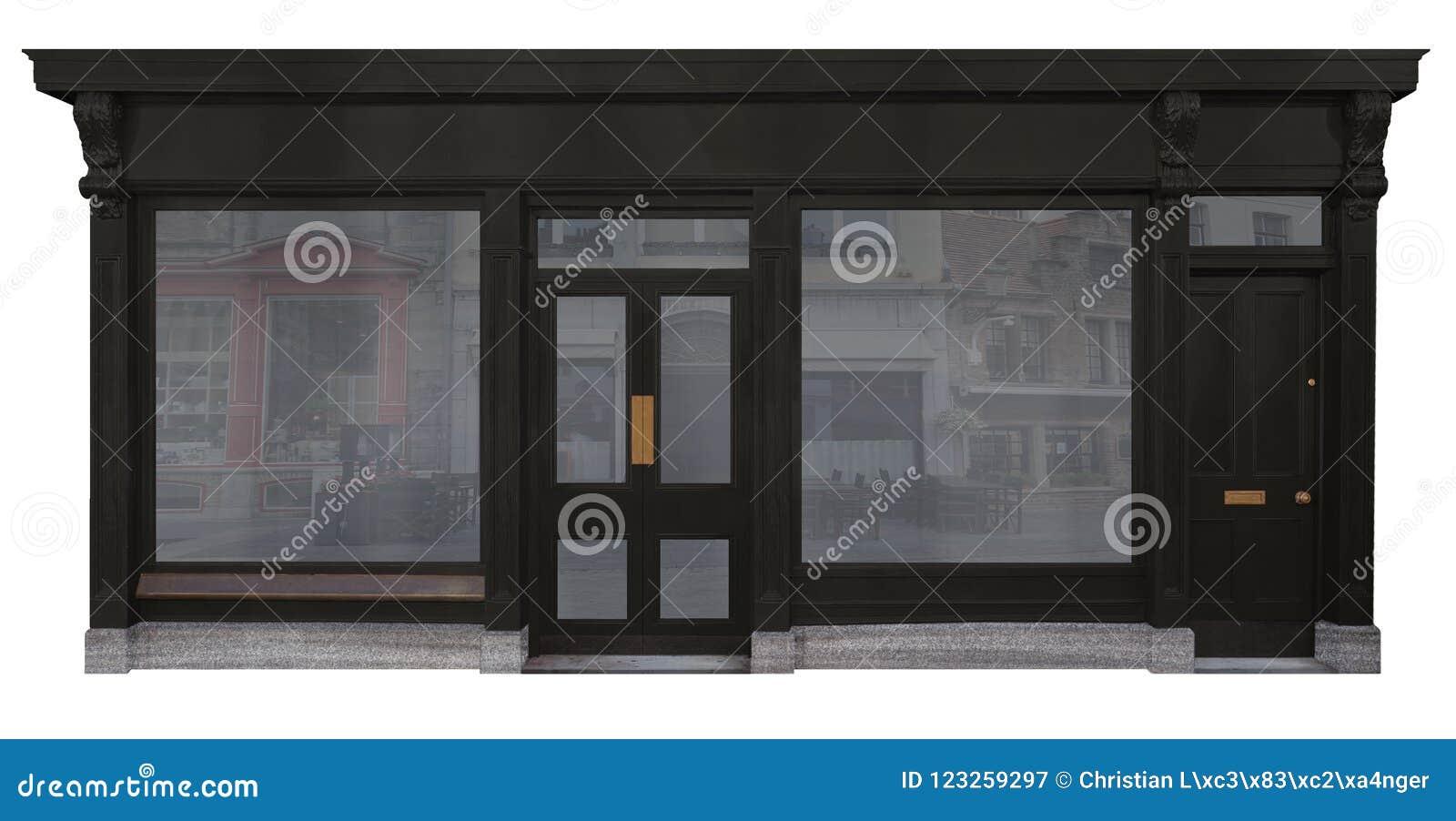 Fachada de la tienda con la fachada de madera negra aislada en el fondo blanco