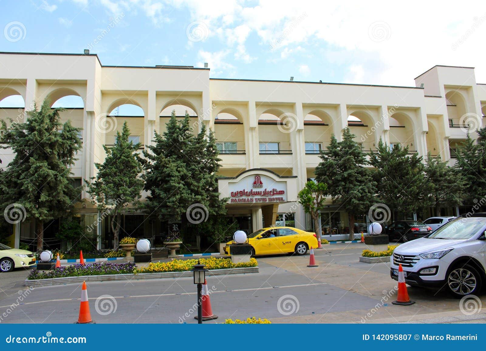A fachada do Parsian Evin Hotel em Tehran, Irã