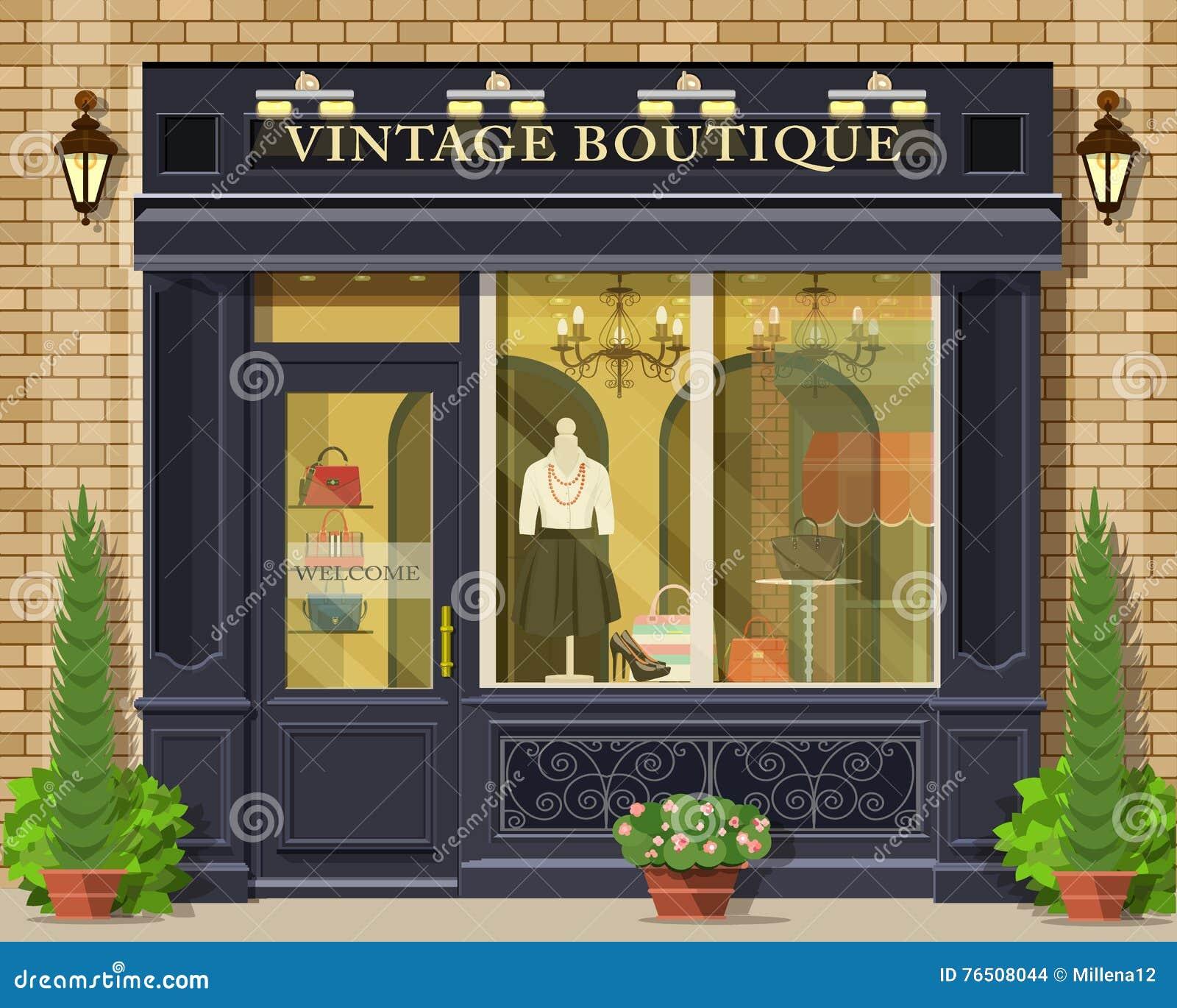 Fachada plana detallada del boutique del vintage del diseño del vector Exterior gráfico fresco de la tienda de la moda