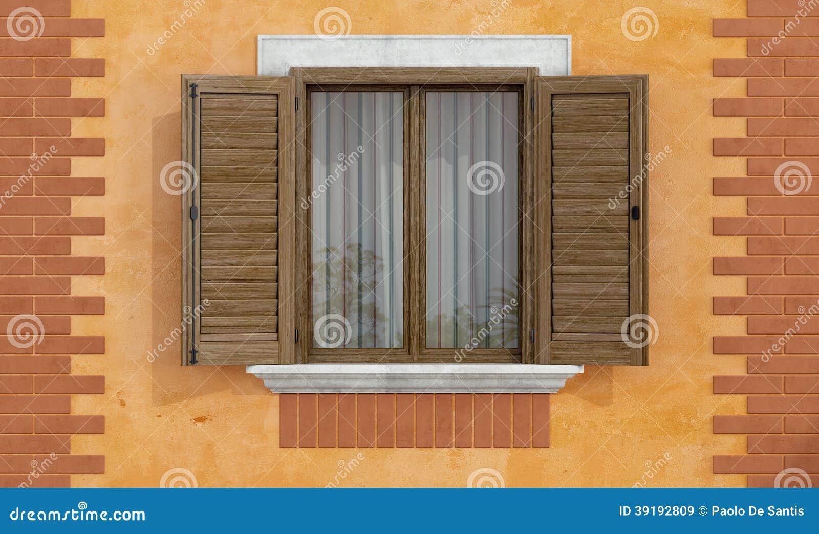 #A86C23 Detalhe de uma casa velha com a janela de madeira com tijolos  464 Janelas Duplas De Madeira