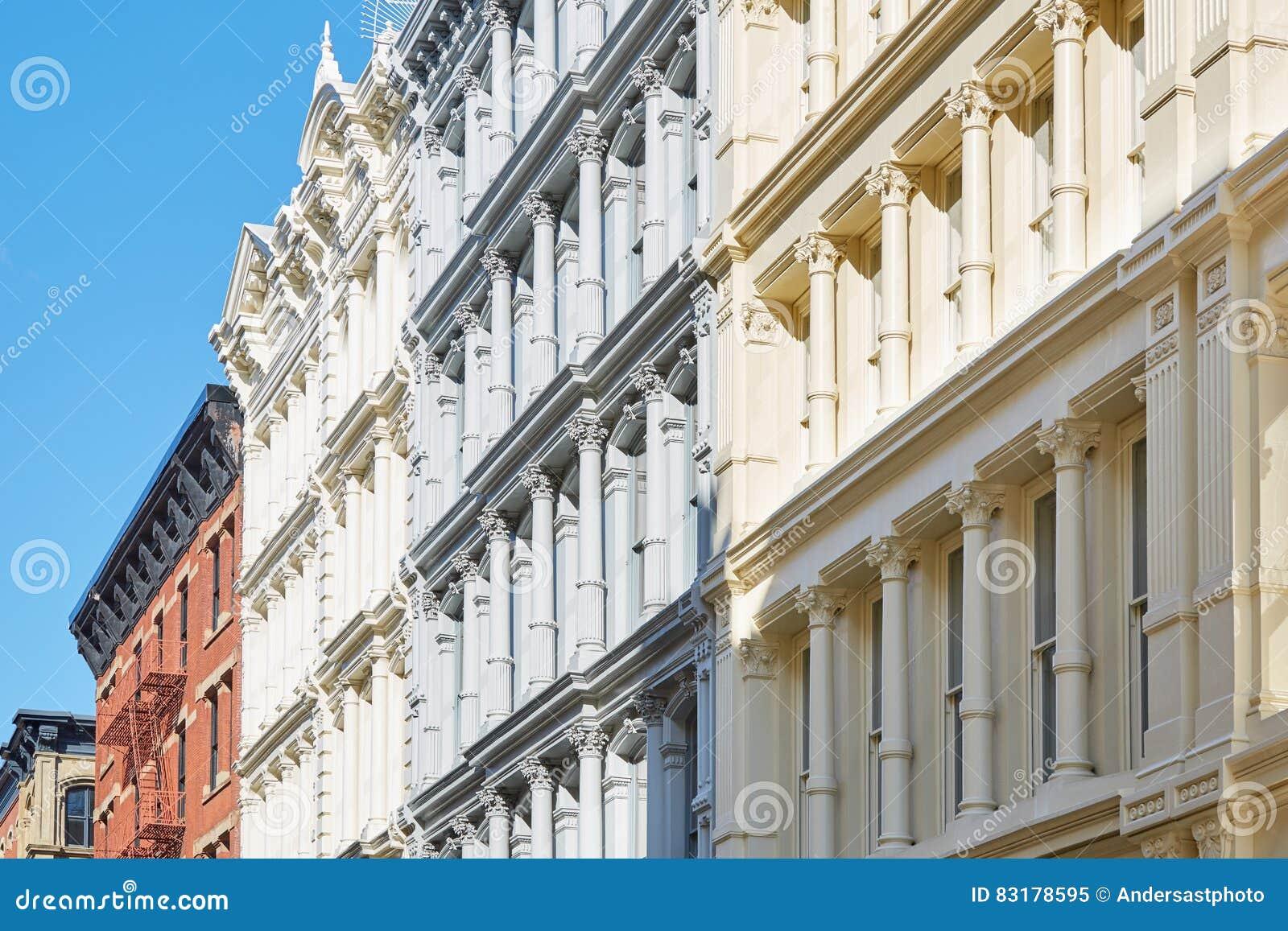 Fachadas Antiguas De Las Casas En Nueva York Dia Soleado Imagen De - Fachadas-antiguas-de-casas