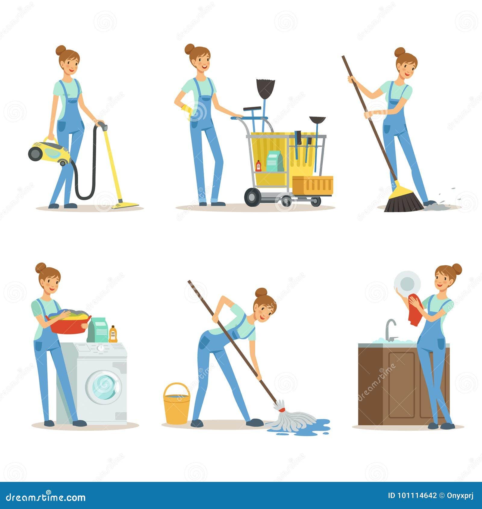 Fachowa cleaning usługa Kobiety cleaner robi niektóre sprzątaniu