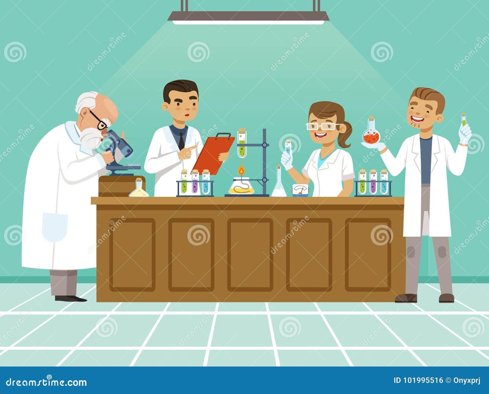 Fachowi chemicy w ich laboratorium robią różnym eksperymentom na stole Samiec i żeńscy medyczni pracownicy