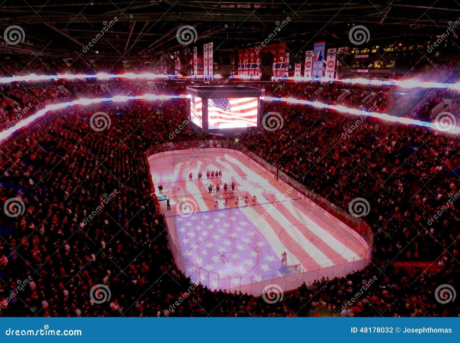 Fachowi NHL usa hokejowi gracze i USA flaga (Stany Zjednoczone)