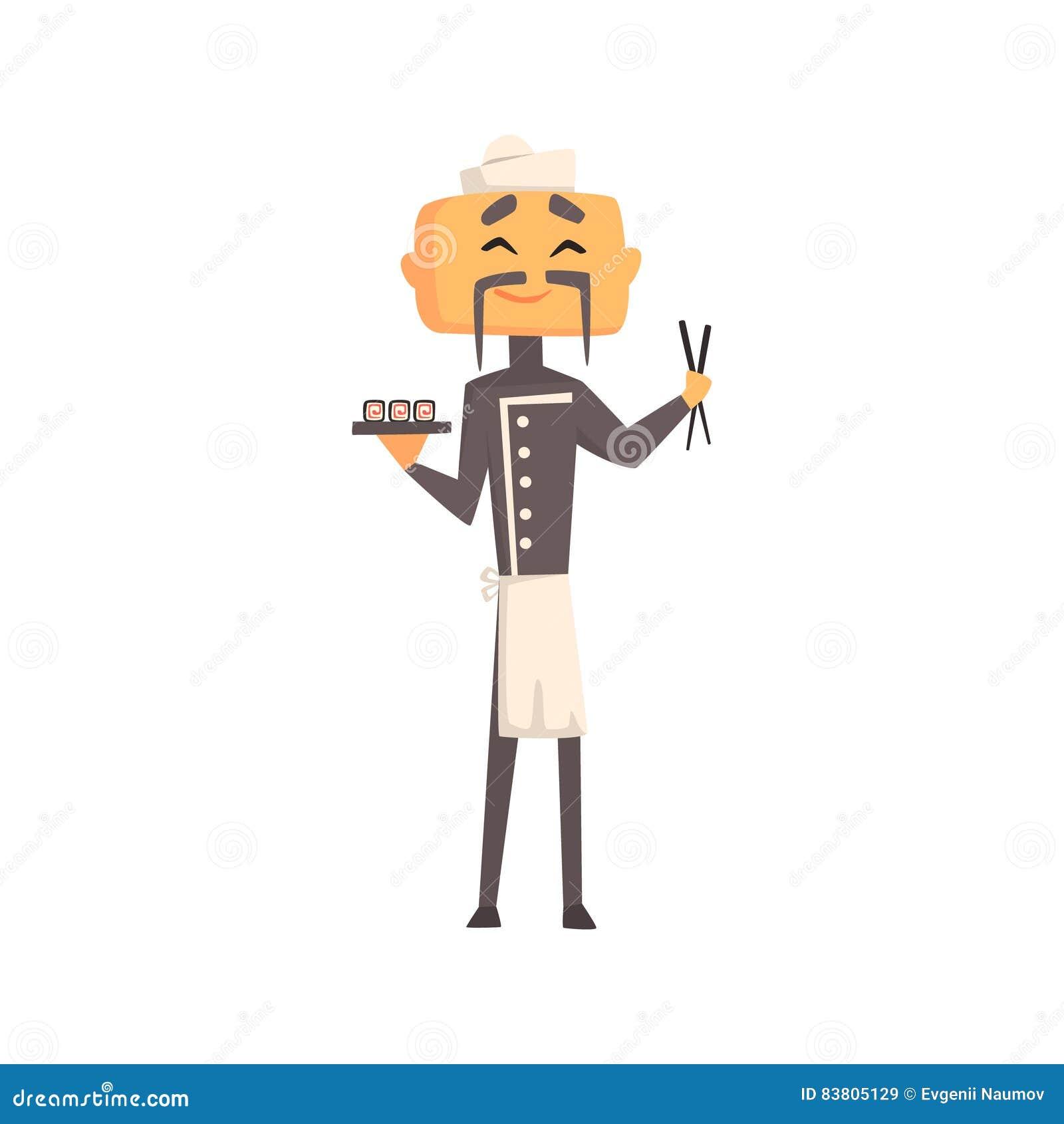 Fachowy azjata Cook W klasyk kopii Breasted Popielatej kurtce I Toque Z talerzem suszi I kije