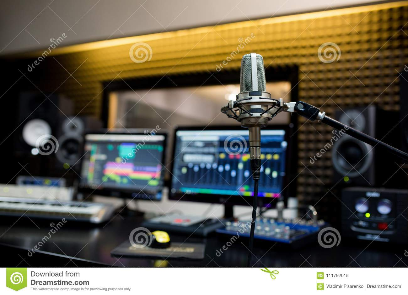 Fachowy mikrofon w studiu nagrań