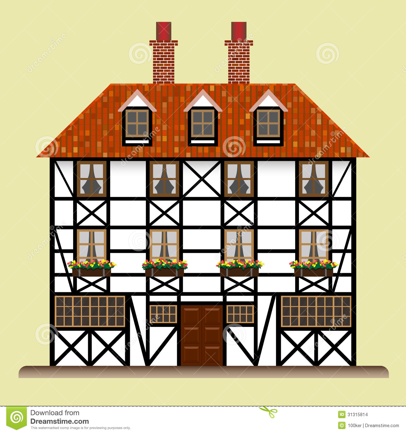 Fachwerk House Traditional Cottage Isolated Stock Images