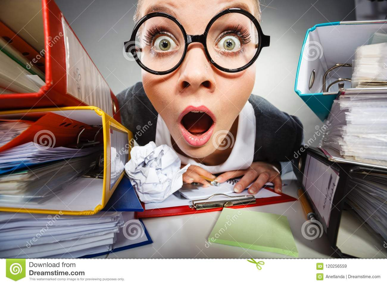 Download Crazy Thoughtful Accountant Businesswoman. Stock Image - Image of shock, thoughtful: 120256559