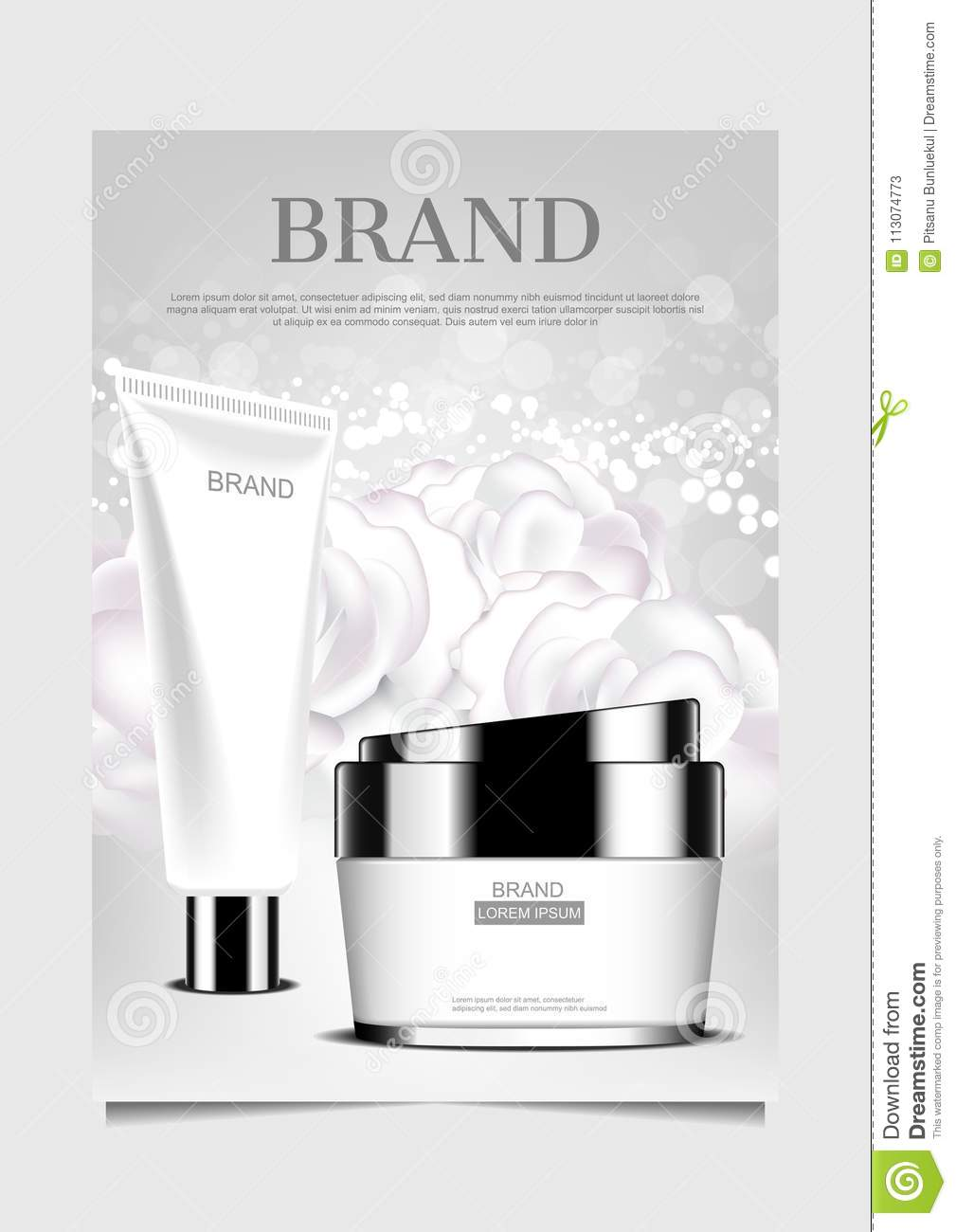 Facial Foam And Cream On White Flowers Background Design For Pos