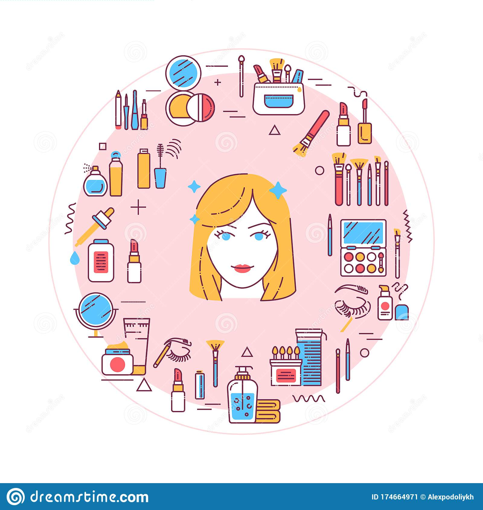 Facial Makeup Web Banner Cosmetic Products Feminine Skincare Infographics With Linear Icons On Red Background Creative Idea Stock Vector Illustration Of Cosmetic Fashion 174664971