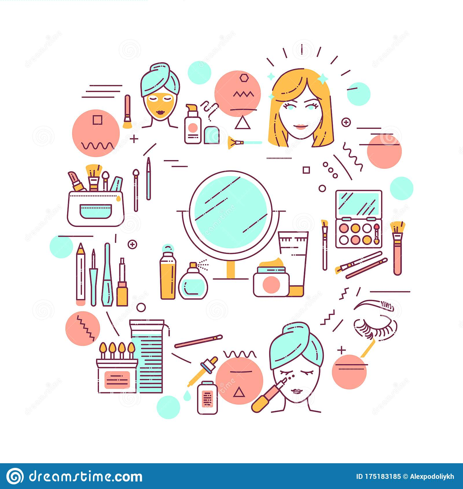 Facial Makeup Web Banner Cosmetic Products Feminine Skincare Infographics With Linear Icons On White Background Creative Idea Stock Vector Illustration Of Icon Facial 175183185
