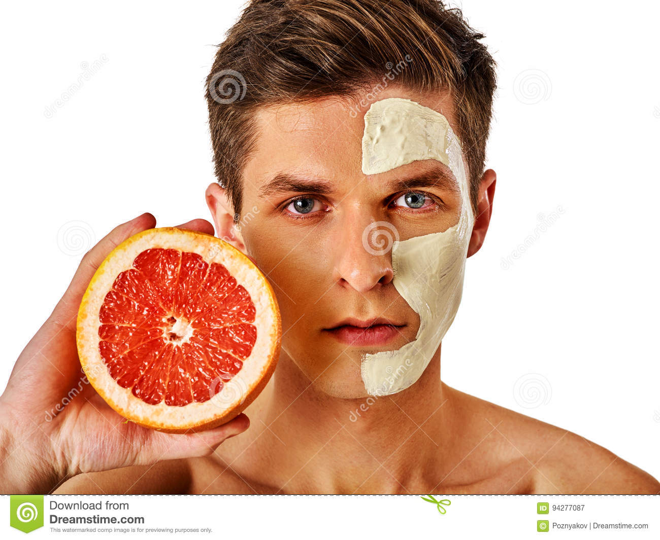Facial man mask from fruits and clay . Face mud applied.