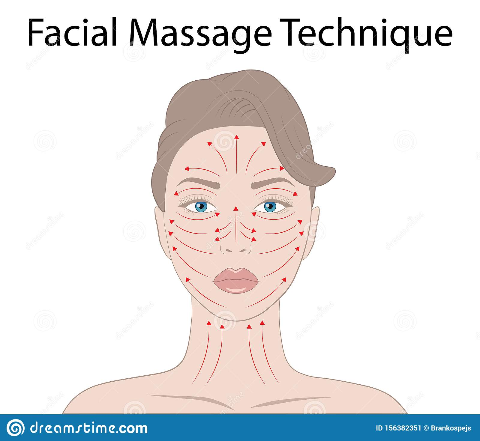 Facial Massage Technique And Shiatsu Points Acupuncture Vector Illustration Stock Vector Illustration Of Face Isolated 156382351