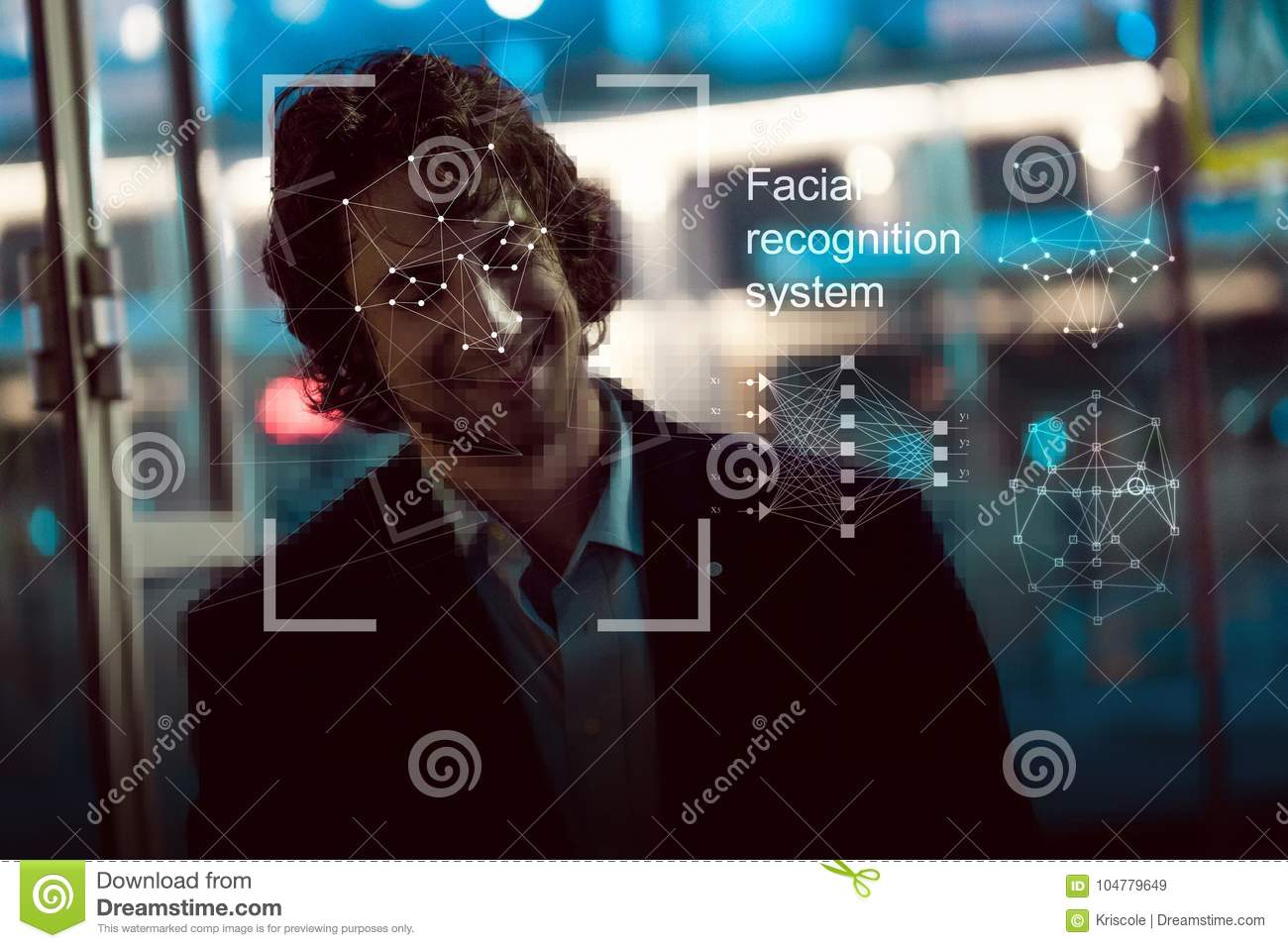 Download Facial Recognition System, Concept. Young Man On The Street, Face Recognition Stock Image - Image of identity, information: 104779649