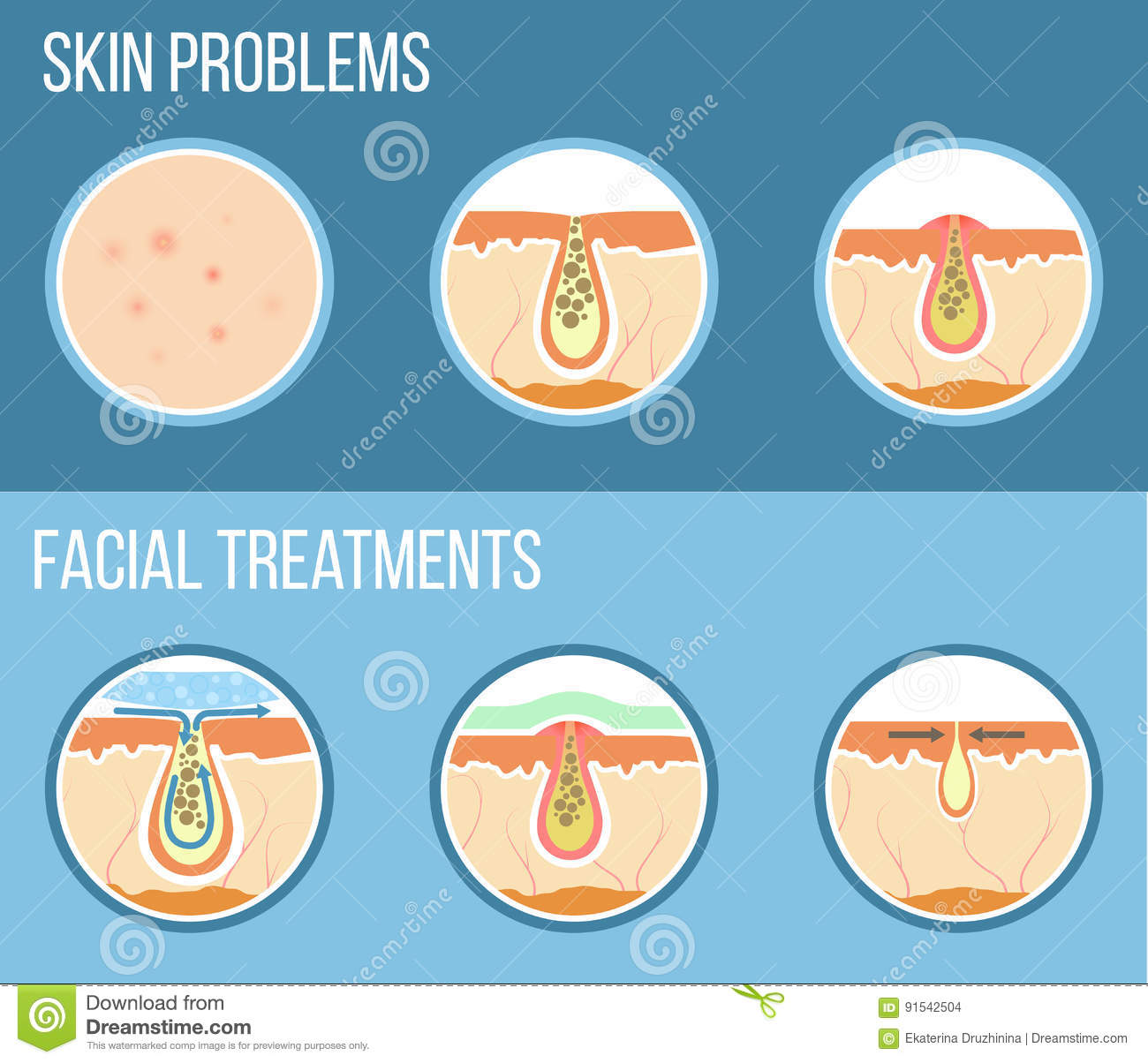 Skin Care Infographic: Facial Treatment Infographic Stock Vector