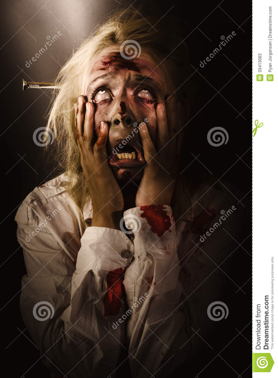 Facing Dark Horror Dying Zombie Screaming In Fear Stock Image