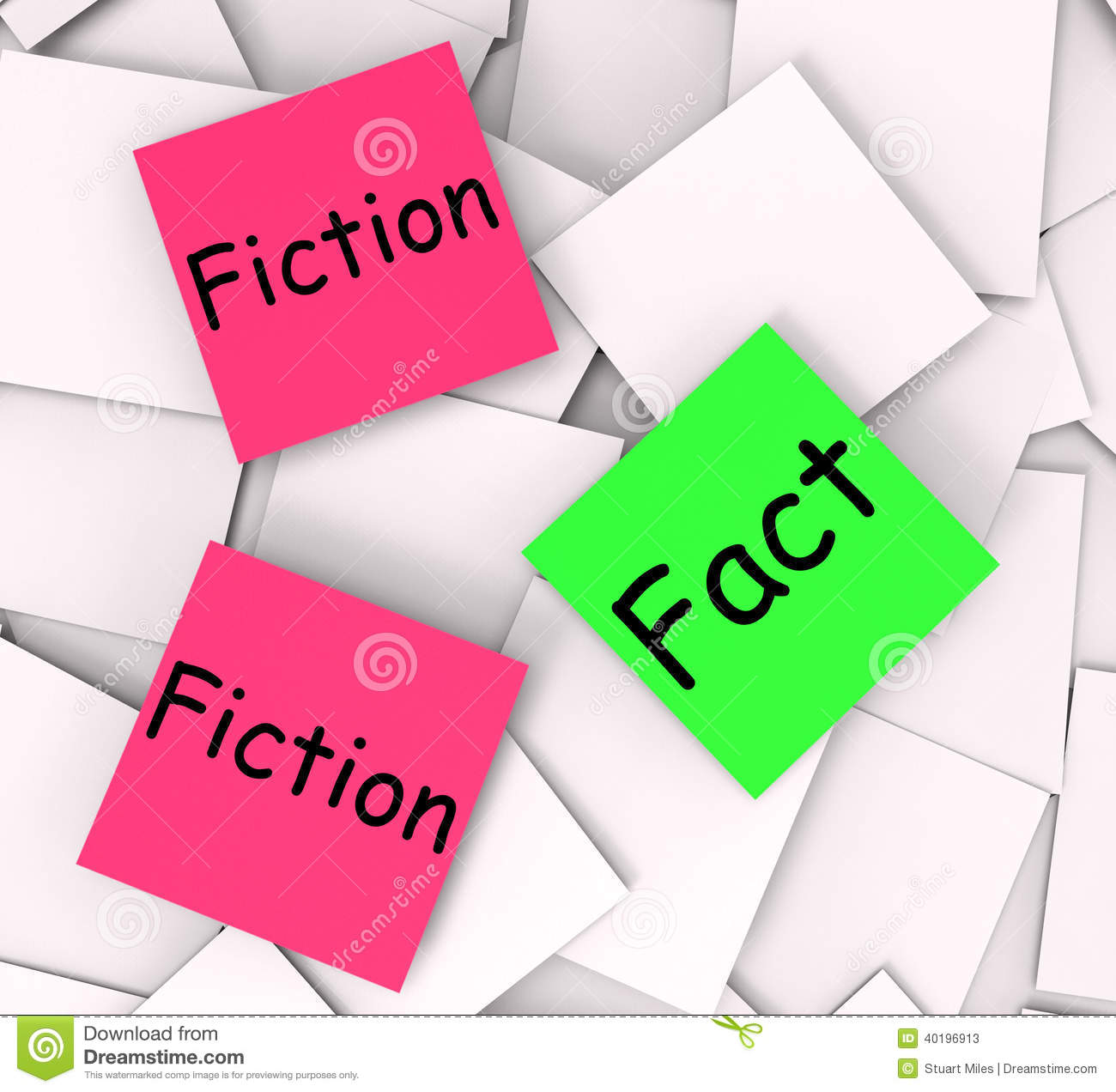Fact Fiction Post-It Notes Mean Correct Or Falsehood Stock