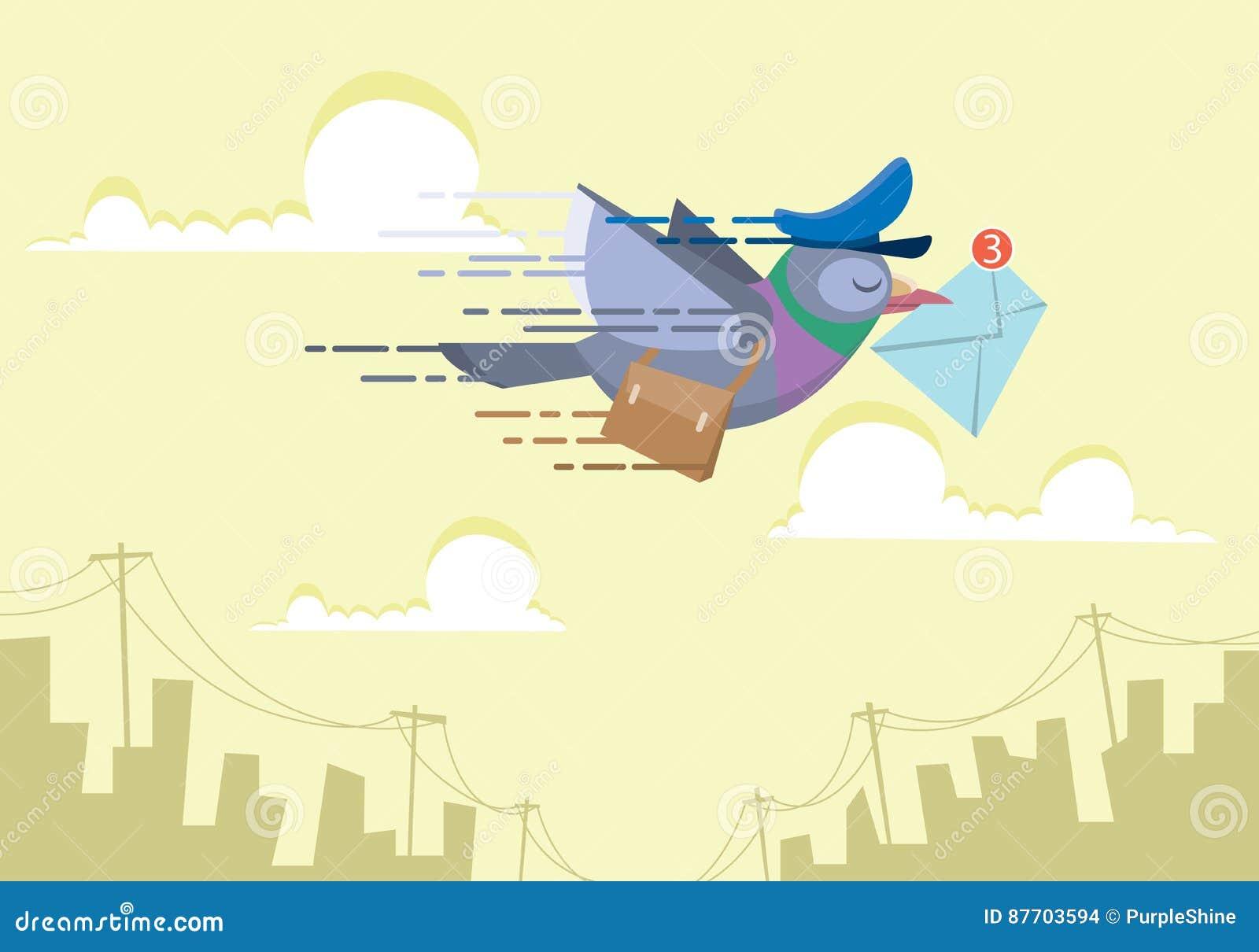 Facteur de pigeon volant au-dessus du ciel envoyant à concept d email l illustration plate de vecteur