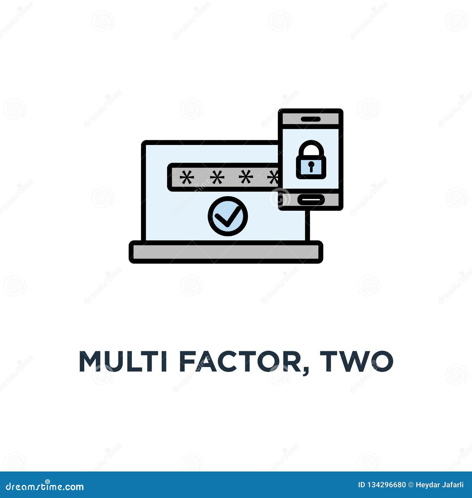 Factor multi, autentificación de dos pasos, icono en línea del control de acceso, símbolo del teléfono móvil con la cerradura, co