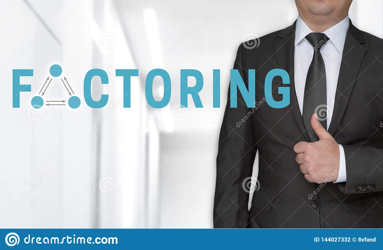 Factoring concept and businessman with thumbs up