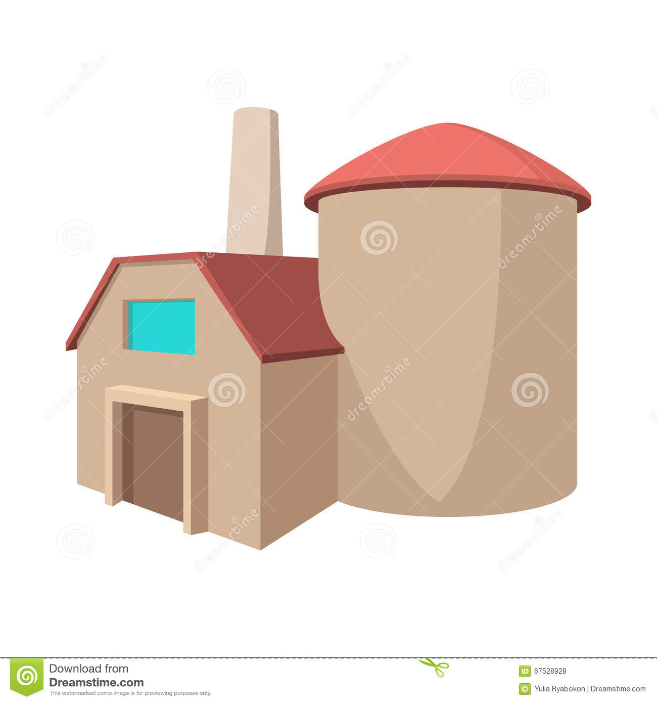 Factory Building Cartoon Icon Stock Vector - Image: 67528928