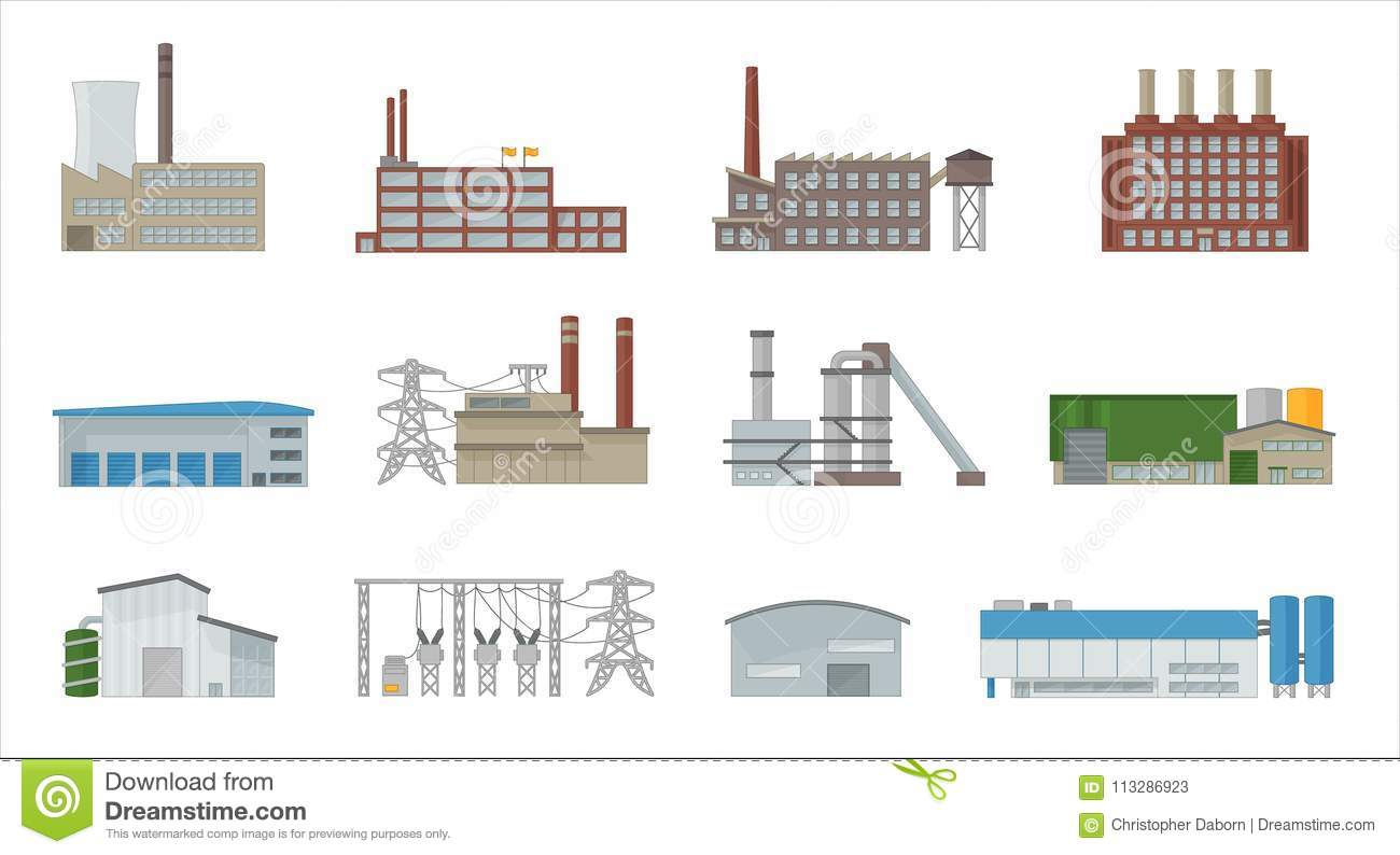 Factory building icon vector set in flat style