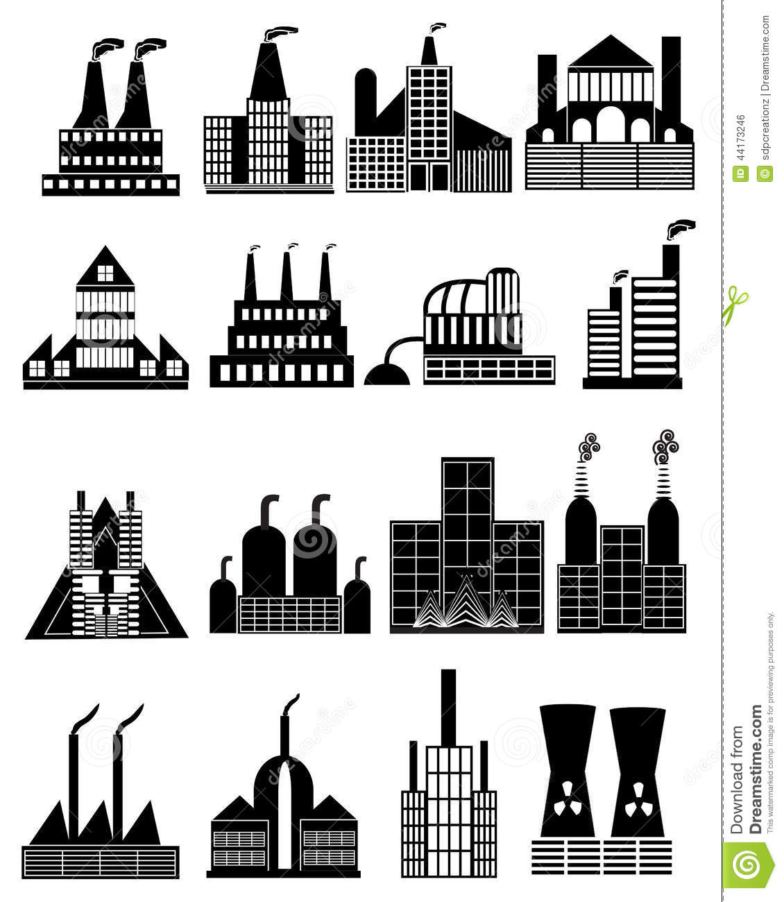 Different Types Of Buildings : Factory building icons set stock vector image